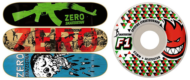Skateistan Zero decks and Spitfire wheels